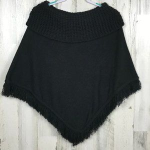 Say What poncho sweater fringe boho cowl neck